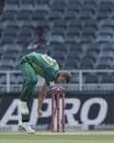 Anrich Nortje in his followthrough, South Africa v Sri Lanka, 1st ODI, Johannesburg, March 3, 2019