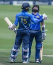 Dhananjaya de Silva congratulates Kusal Mendis on getting to his half-century, South Africa v Sri Lanka, 1st ODI, Johannesburg, March 3, 2019