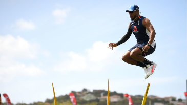 Chris Jordan leaps during training