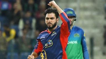 Usman Shinwari celebrates a wicket
