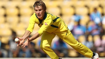 Adam Zampa fields off his own bowling