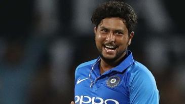 Kuldeep Yadav is elated after dismissing Glenn Maxwell