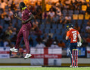 Carlos Brathwaite celebrates his dismissal of Eoin Morgan, West Indies v England, 1st T20I, St Lucia, March 5, 2019