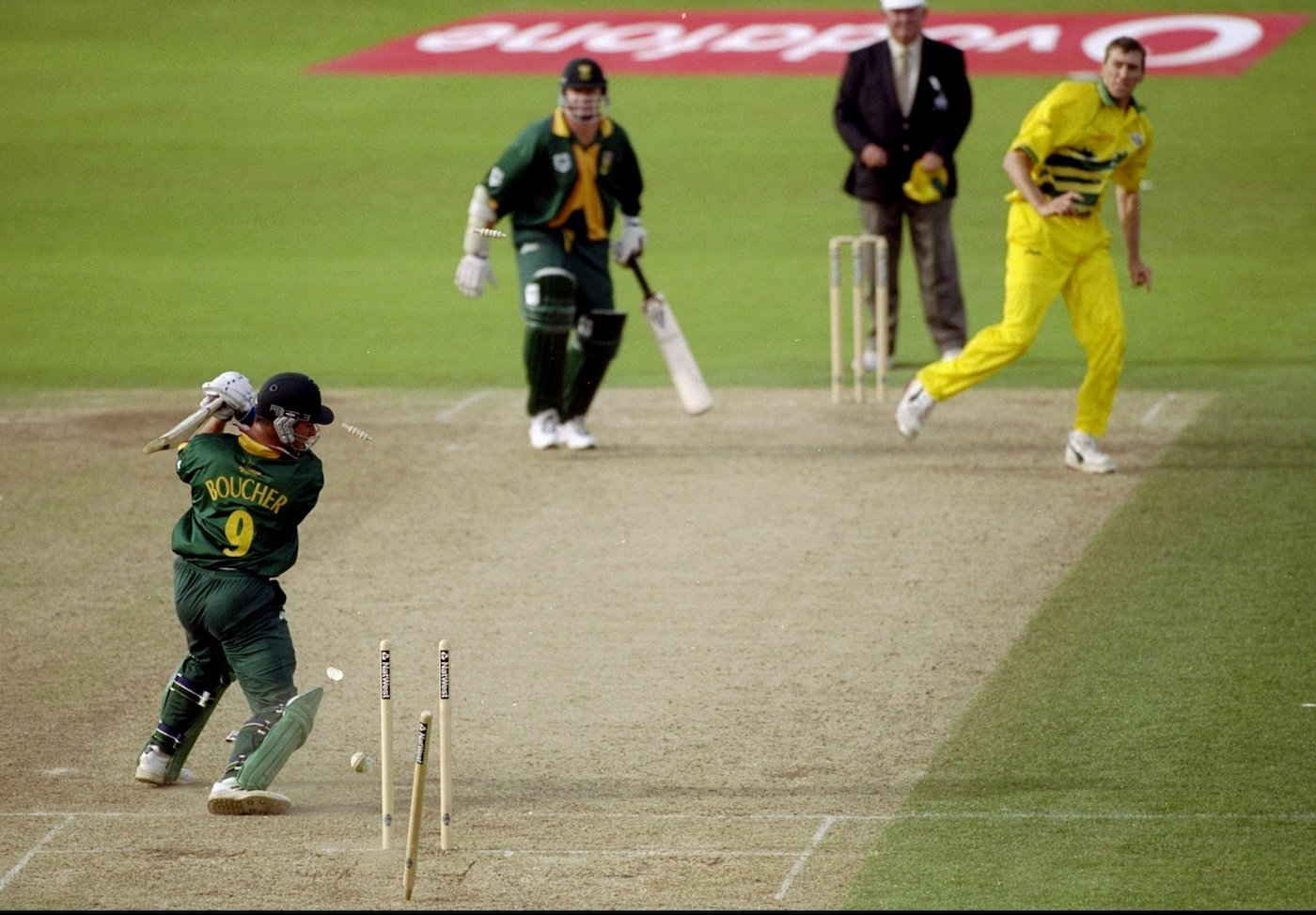 Mark Boucher: five off ten balls and then a merciful deliverance in being bowled by McGrath