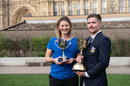 Charlotte Edwards of Hampshire with the Lady Taverners ECB Trophy and Surrey's Rory Burns with the Lord's Taverners ECB Trophy, London, March 5, 2019