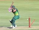 Faf du Plessis is bowled, South Africa v Sri Lanka, 2nd ODI, Centurion, February 6, 2019