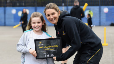 Charlotte Edwards with Keira McDermott, the two millionth girl to come through Chance to Shine's schools programme