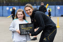 Charlotte Edwards with Keira McDermott, the two millionth girl to come through Chance to Shine's schools programme, March 8, 2019