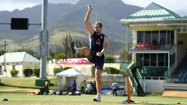 David Willey bowls in the nets in Basseterre