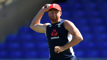 Jonny Bairstow takes part in a fielding drill during a nets session