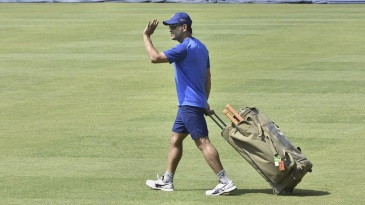 MS Dhoni wraps up a training session in Ranchi