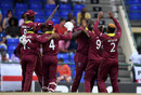 Carlos Brathwaite celebrates with his team-mates, West Indies v England, 2nd T20I, , St Kitts, March 8, 2019