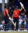 Sam Billings raises his bat on reaching fifty, West Indies v England, 2nd T20I, , St Kitts, March 8, 2019