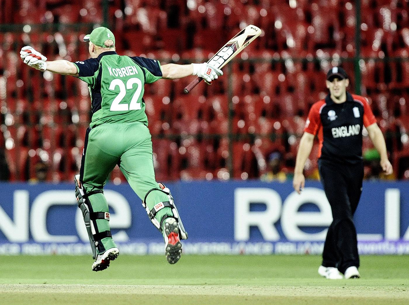 Kevin O'Brien roars with triumph after bringing up his 50-ball century