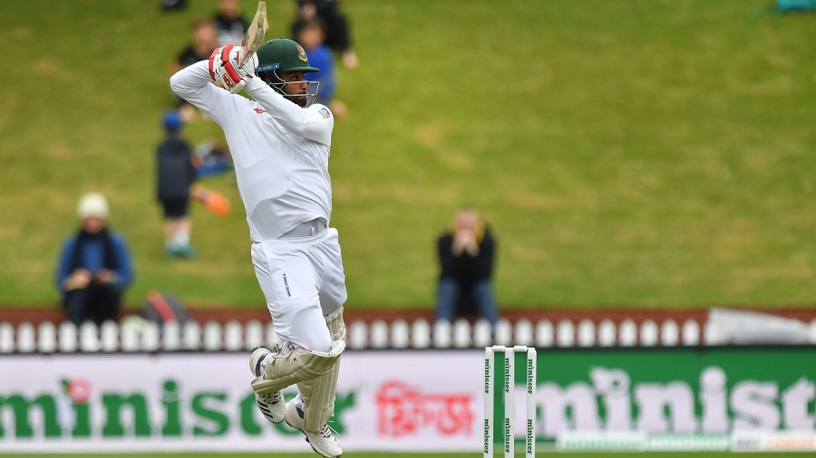 Tamim Iqbal is airborne while working one square off the wicket