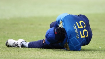 Kusal Perera was injured while fielding early in South Africa's innings
