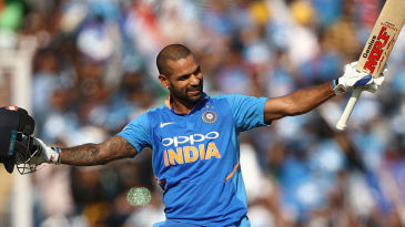 Shikhar Dhawan acknowledges the applause of the crowd