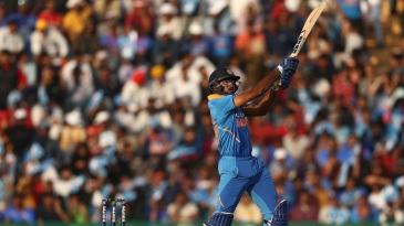 Vijay Shankar slaps a short ball down the ground