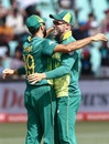 Faf du Plessis embraces Imran Tahir following the wicket of Niroshan Dickwella, South Africa v Sri Lanka, 4th ODI, Durban, March 10, 2019