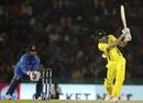 Ashton Turner hits one down the ground, India v Australia, 4th ODI, Mohali, March 10, 2019
