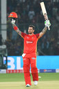 Cameron Delport celebrates his century, Lahore Qalandars v Islamabad United, Karachi, 9 March, 2019