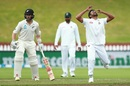Abu Jayed reacts to a dropped catch as Kane Williamson looks on, New Zealand v Bangladesh, 2nd Test, Wellington, 4th day, March 11, 2019