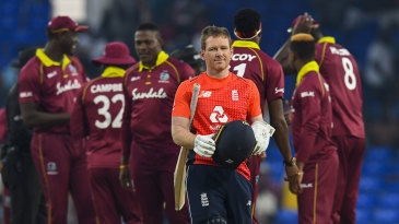 Eoin Morgan leaves the field after sealing England's 3-0 clean sweep