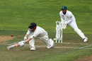 Henry Nicholls stretches out to sweep, New Zealand v Bangladesh, 2nd Test, Wellington, 4th day, March 11, 2019