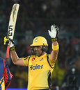 Kamran Akmal celebrates his fifty, Karachi Kings v Peshawar Zalmi, Karachi, March 11, 2019