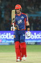 Colin Ingram raises his bat after getting to his half-century, Karachi Kings v Peshawar Zalmi, Karachi, March 11, 2019
