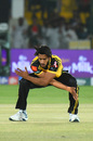 Hasan Ali celebrates a wicket in trademark fashion, Karachi Kings v Peshawar Zalmi, Pakistan Super League, Karachi, March 11, 2019
