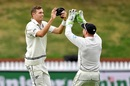Tim Southee celebrates a wicket with Peter Bocock, New Zealand v Bangladesh, 2nd Test, Wellington, 5th day, March 12, 2019