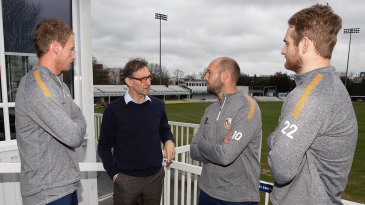 Tony Adams chats to Essex squad members during his visit to Chelmsford