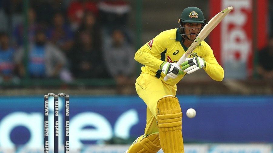Usman Khawaja works the ball into the leg side