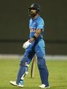 Virat Kohli walks back after being dismissed by Marcus Stoinis, India v Australia, 5th ODI, New Delhi, March 13, 2019