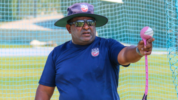 USA coach Pubudu Dassanayake gets things in motion during training