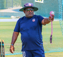 USA coach Pubudu Dassanayake gets things in motion during training, Dubai, March 14, 2019