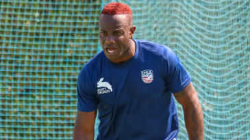 Xavier Marshall sports his dyed hair at a USA training session