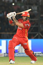 Cameron Delport bunts one into the on side, Karachi Kings v Islamabad United, Karachi, March 14, 2019