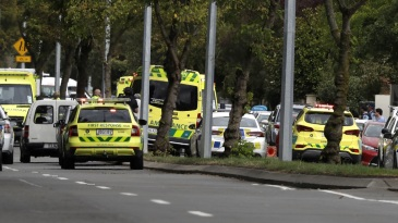 Ambulances parked outside the mosque which was attacked
