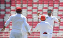 Mohammad Nabi celebrates a wicket, Afghanistan v Ireland, Only Test, 1st day, Dehradun, March 15, 2019
