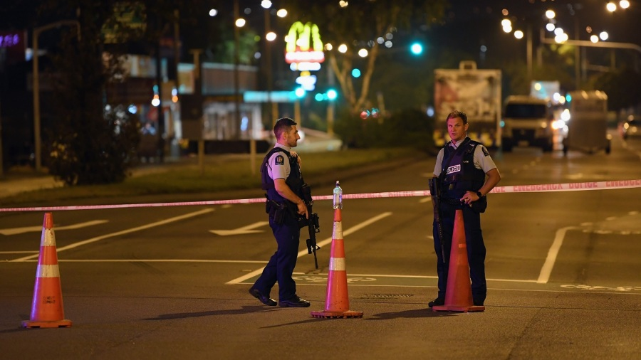 Security officers continued to maintain a cordon around the site of one of the attacks