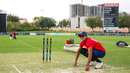 Nosthush Kenjige helps Jessy Singh mark out his runup before play, UAE v USA, 1st T20I, Dubai, March 15, 2019