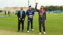 USA captain Saurabh Netravalkar calls heads as it lands tails at the toss for USA's maiden T20I, UAE v USA, 1st T20I, Dubai, March 15, 2019