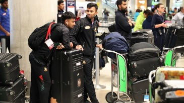 Bangladesh players arrive at Christchurch airport to catch their flight to Dhaka