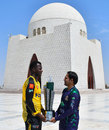 Darren Sammy and Sarfaraz Ahmed pose with the PSL 2019 trophy at Mazar-e-Quaid, Karachi, March 16, 2019