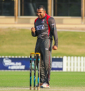 Sultan Ahmed pumps his fist after taking a big wicket, UAE v USA, 2nd T20I, Dubai, March 16, 2019
