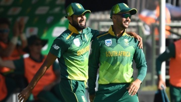 A joyous moment for Imran Tahir and JP Duminy during their last ODI at home