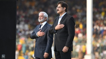 PCB chairman Ehsan Mani in attendance with Sindh's chief minister at the PSL final