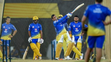 MS Dhoni smashes one out of sight in the CSK nets
